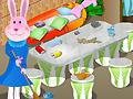 Крольчиха убирает в доме