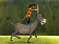 Осел и кот убегают на осле