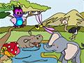 Счастливые друзья джунглей - раскраска