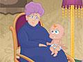 Бабушка ухаживает за малышом