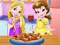 Принцессы Диснея: Рапунцель и Белль готовят пиццу