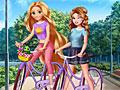 Принцессы Диснея на велосипеде