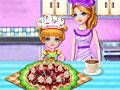 Маленький повар готовит с мамой