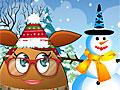 Девочка Поу лепит снеговика